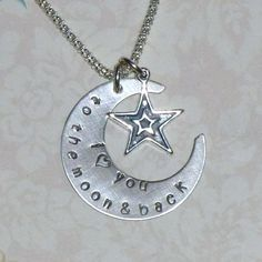 I Love you to the Moon and Back Hand Stamped Sterling Silver Necklace by Dolphin Moon Creations