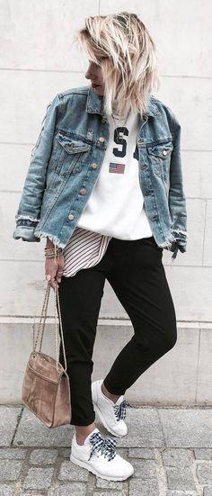 ootd denim jacket + top + skinnies
