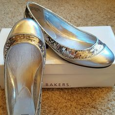 Point Toed Flats Brand new with the box. Metallic Silver with silver sequence. Size 7B Bakers Shoes Flats & Loafers