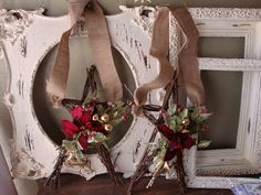 Christmas grapevine Star floral wall hanging red and gold natural christmas decor rustic elegant home decor reindeer.