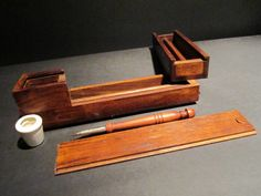 Replica Antique Traveling Wood Slide Open Writing Box Inkwel Turned Pen Desk Set - Early Home Decor