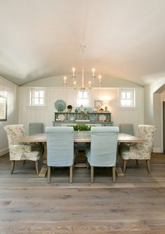 Dining room wainscoting arched ceiling and white oak plank hardwood flooring