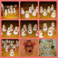 Mijn zelfgemaakte engeltjes! Van bloempotjes, houten kralen,, jute touw, glazen kraaltjes, ijzerdraad, hartjes en lint