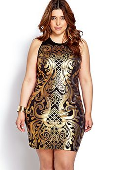 Luxe Baroque Bodycon Dress | FOREVER21 PLUS - 2000070130