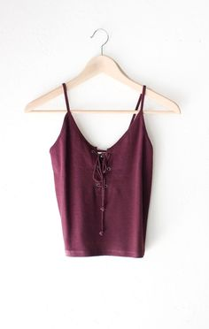 "- Description Details: Lace up crop top in burgundy with adjustable front tie & straight back. Form fitting, tend to run on the smaller side & are more fitted. Measurements (Size Guide): S: 26"" bust,"