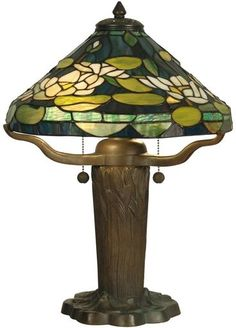 Dale Tiffany Table Lamp Hand-Rolled Art Glass Tranquil Teal Floral 2-Light