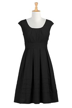 eShakti Pleated cotton poplin dress