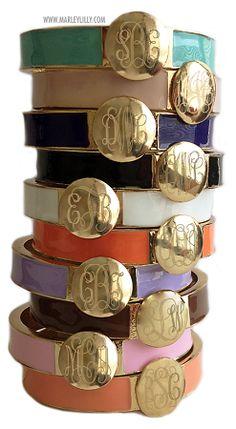 Monogrammed Enamel Bangle Bracelets #monogrammed #armparty #stacks #armcandy