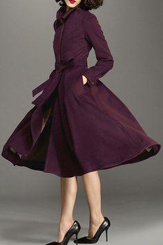 Wool Blend Midi Skirted Coat