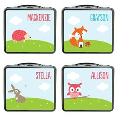 Personalized woodland creature lunch boxes. So cute!