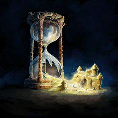 Fantasy world outside an hourglass