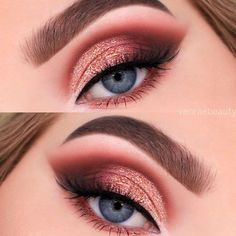 Warm toned makeup for blue eyes Valentine's Day valentine's day Beautiful Wedding Eye … Valentine's Day valentine's day Beautiful Wedding Eye Make Up Ideas Makeup Eye Looks, Eye Makeup Art, Beautiful Eye Makeup, Blue Eye Makeup, Cute Makeup, Skin Makeup, Eyeshadow Makeup, Eyelashes Makeup, Prom Makeup