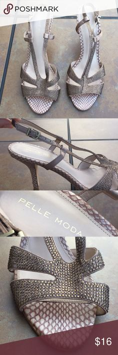 Pelle Moda heeled sandals Pelle Moda faux snakeskin print with gems al over - light ware only on the bottom Pelle Moda Shoes Sandals