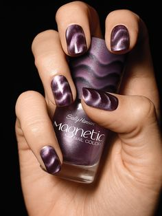 Hansen Magnetic Nail Polish in Red-y Response!Sally Hansen Magnetic Nail Polish in Red-y Response! Purple Nail Designs, Nail Polish Designs, Nail Art Designs, Nails Design, New Nail Polish, Fancy Nails, Pretty Nails, Gorgeous Nails, Nagellack Trends
