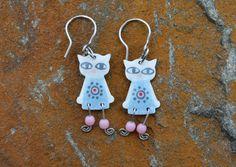 Stainless Steel Cat Earrings Light Blue Dress Flower by #CinkyLinky