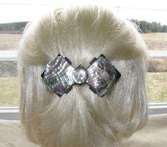 "VTG HAIR CLIP GRIP BARRETTE HEAD PIECE MOTHER OF PEARL MOP BOW SHAPE 3-D 4"" 42$"
