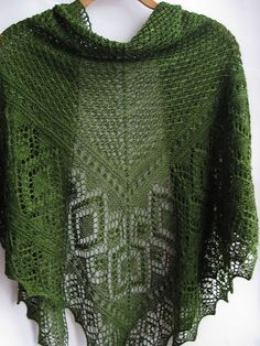 "knittingcountess: ""Here's a beautiful green lace shawl! The pattern is Miraldas Triangular Shawl by Nancy Bush, which can be found in her book: Knitted Lace of Estonia: Techniques, Patterns, and Traditions. The yarn used was Rohrspatz & Wollmeise..."