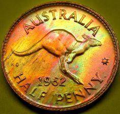 1962 AUSTRALIA Half Penny AMAZING PQ Neon Toned Kangaroo Coin RARE KEY DATE!