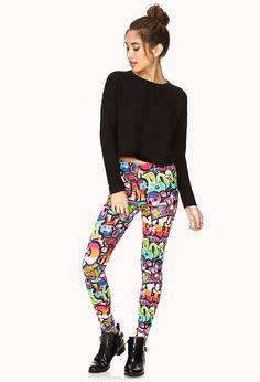 Forever Cool Graffiti Leggings | FOREVER21 Need some cool new leggings #F21Spring #Leggings #Neon