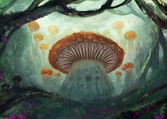Mushroom Village by sur-mata on DeviantArt Mushroom House, Stuffed Mushrooms, Magic, Deviantart, Gallery, Painting, Design, Fungi, Stuff Mushrooms