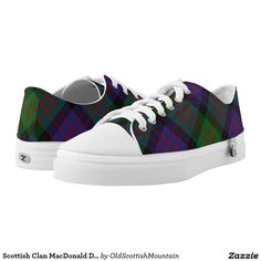 Shop Scottish Clan Stewart Stuart Royal Red Tartan Low-Top Sneakers created by OldScottishMountain. Scottish Clan Tartans, Scottish Clans, Colorful Sneakers, Kids Sneakers, Mackay Tartan, Fraser Clan, Clan Macdonald, Tartan Shoes, Printed Shoes