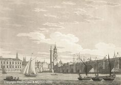 London Bridge from the south-west, 1799. Copyright Westminster and MOTCO.