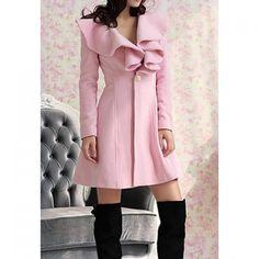 Long Sleeves Ruffles Lapel Beam Waist Long Sections Stylish Women's Trench Coat