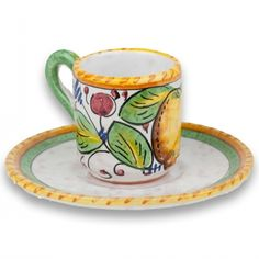 Frutta Mista Espresso Cup with Saucer - handmade and hand painted in the Umbria region of Italy. How relaxing it would be to sip espresso from this handmade espresso cup and reflect on the details in the brushwork on this hand painted beauty. Made in Italy but sold at the Italian Pottery Outlet in Santa Barbara, CA.