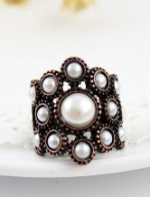 Retro Copper Pearls Ring