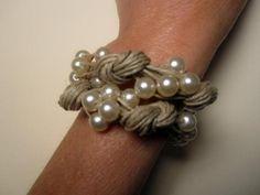 Pulsera lino natural nudos y perlas fantasia - artesanum com