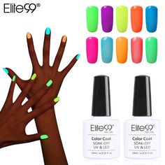 Best Elite99 10ml Fluorescent Neon Luminous Nail Polish 24 Candy Color LED UV Gel Night Glow In. Click visit to read descriptions