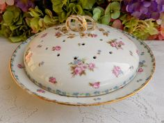 Beautiful Vintage Limoges Porcelain Pancake Warmer Steamer Pink Floral Gold Gilt #Limoges