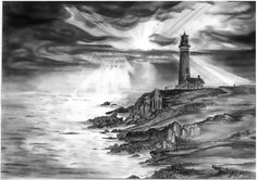 "Idea for my survivor tattoo.In the foreground, a lighthouse (maybe) with breaking waves on rock, in the background a stormy sea with a ship (idea of weathering the storm). Somewhere I want to add the lyrics from Nautical Twilight, ""She is boundless even breaking on the beach""."