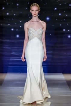 Look 2Cream silk crepe strapless dress with embroidered cut out bodice and back sweep train
