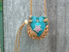 Teeny Tiny Deerskin Leather Medicine Bag with a by ncbeadsnbags