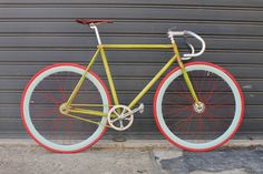 Red tires and spokes