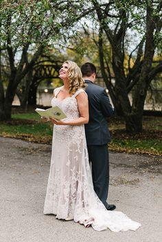 stunning bride in her David Tutera lace wedding gown ~  we ❤ this! moncheribridals.com