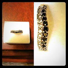 Black/White Diamond wedding band 14k white gold Black/White Diamond curved wedding band Kay Jewelers Jewelry Rings