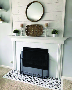 Decorating Trend 2018 Stenciled and Painted Fireplace Hearth Jewel Cement Tile Stencils Cutting Edge Stencils Fireplace Hearth Tiles, Basement Fireplace, Wooden Fireplace, Paint Fireplace, Shiplap Fireplace, Victorian Fireplace, Farmhouse Fireplace, Home Fireplace, Fireplace Remodel