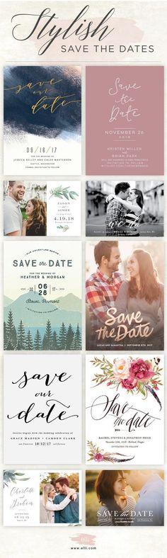 Find stylish save the dates and customize for free at Elli.com. #SaveTheDateWeddingIdeas