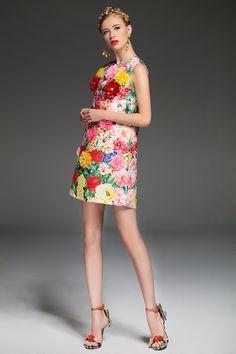 d16aceff2f2 High Quality 2017 Summer Fashion Designer Runway Dress Women s elegant  Sleeveless Tank Floral Print Flower Applique