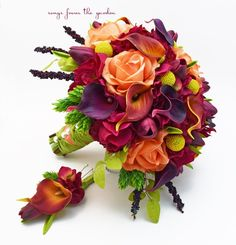 Fall Wedding Bridal Bouquet Calla Lilies Tulips Hydrangea Craspedia Roses Hops