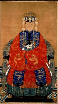 """Chinese, Qing Dynasty  Portrait of a Chinese Lady (Ancestor Painting),  19th Century  Watercolor on Silk34"""" x 17""""  Kresge Art Museum, Gift of Dr. Shao-Chang Lee"""