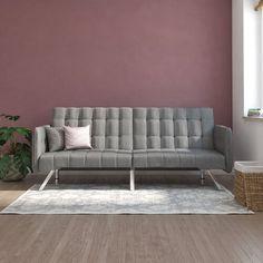 "Wade Logan® Littrell 71"" Wide Convertible Sofa & Reviews | Wayfair Convertible, Modern Futon, Futon Bed, Chrome Colour, Beds Online, Upholstered Platform Bed, Outdoor Sofa, Upholstery, Design"