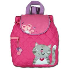 Love this Cat & Mouse Quilted Personalized Backpack by Stephen Joseph on Toddler Backpack, Small Backpack, Kitty Backpack, Personalized Backpack, Cat Quilt, Cat Mouse, Cool Backpacks, Quilted Backpacks, Girls Quilts