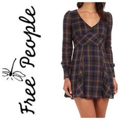 Free People Teen Spirit Mini Dress NWT - Free People Teen Spirit Mini Dress in Navy and Olive. Long sleeved dress with an open slit on the back. Free People Dresses Mini