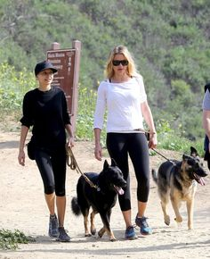 These two famous ladies were seen walking their German shepherds through Coldwater Canyon Park in L.A. | Nicole Richie And Cameron Diaz Went Hiking With Their Adorable Dogs