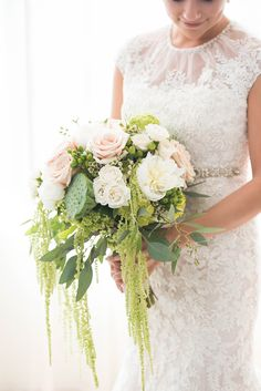 romantic green bouquet | Elizabeth Nord Photography | Glamour & Grace