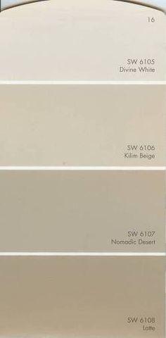 Image detail for -. base colors sw 6106 kilim beige sw 6107 nomadic desert sw 6108 latte Kilim beige on our ceiling with latte on walls! Beige Color Palette, Neutral Paint Colors, Room Paint Colors, Exterior Paint Colors, Paint Colors For Home, House Colors, Bright Colors, Sherwin Williams Branco, Kilim Beige Sherwin Williams