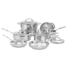 @Overstock.com - Cuisinart Chef's Classic Stainless 11-piece Cookware Set - This stainless-steel cookware set from Cuisinart provides everything you need to whip up a great tasting meal. The 11-piece set is dishwasher safe and features clear glass covers for easy viewing and nonreactive handles that remain cool to your touch.  http://www.overstock.com/Home-Garden/Cuisinart-Chefs-Classic-Stainless-11-piece-Cookware-Set/7183258/product.html?CID=214117 $159.00